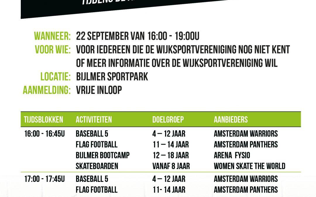 Wijksportvereniging nieuw op het Bijlmer Sportpark